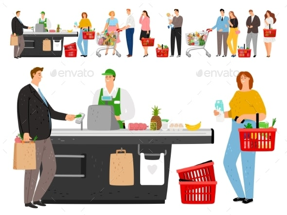 Grocery Shopping Queue - People Characters