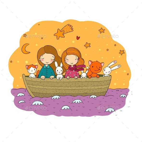 Cartoon Kids in the Boat. Two Little Sisters - People Characters