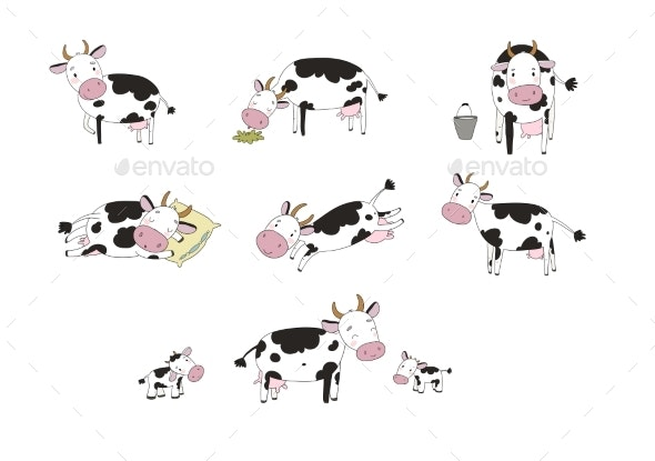 Set with Cartoon Cow Farm Animals - Animals Characters