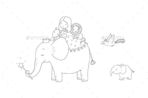 Cartoon Girl Elephant Monkey and Hippo - Animals Characters