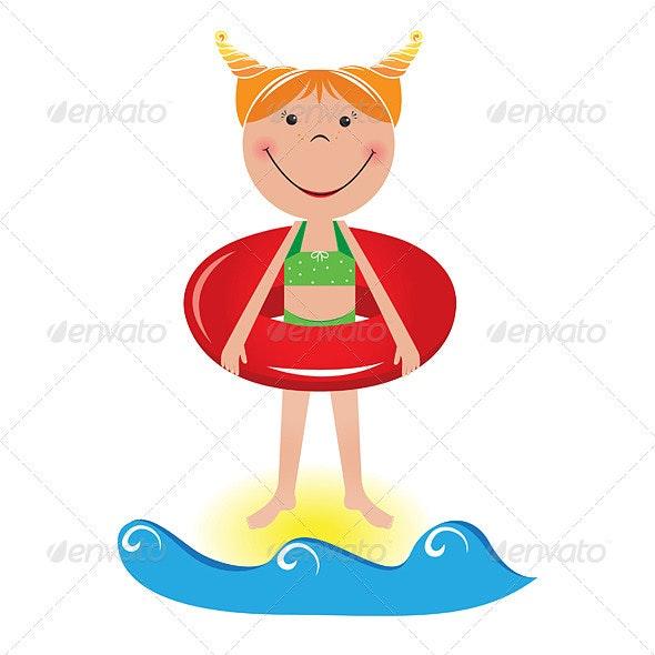 Cartoon little girl with a lifeline - Characters Vectors