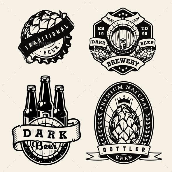 Vintage Brewing Monochrome Badges Set - Miscellaneous Vectors