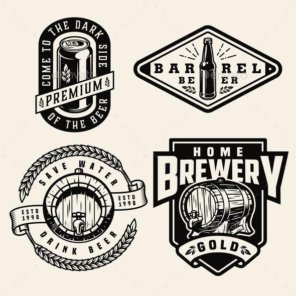 Vintage Monochrome Brewing Labels - Miscellaneous Vectors