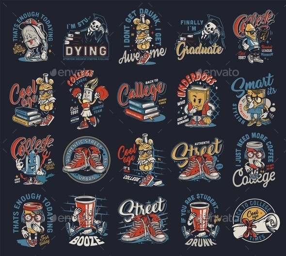 Colorful Vintage College Prints - Miscellaneous Vectors