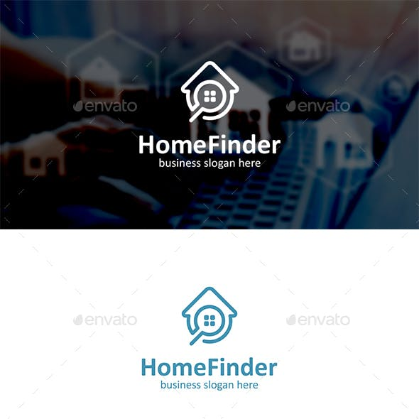 Home Finder Logo with Magnifying Glass and House Outline
