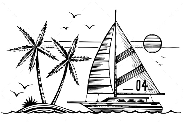 Sailing Yacht and Island in the Sea Sketch - Animals Characters