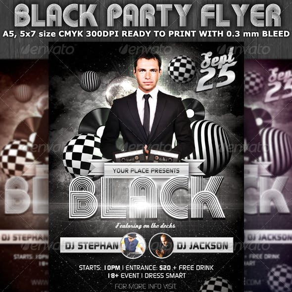 Black Party-Club Flyer Template