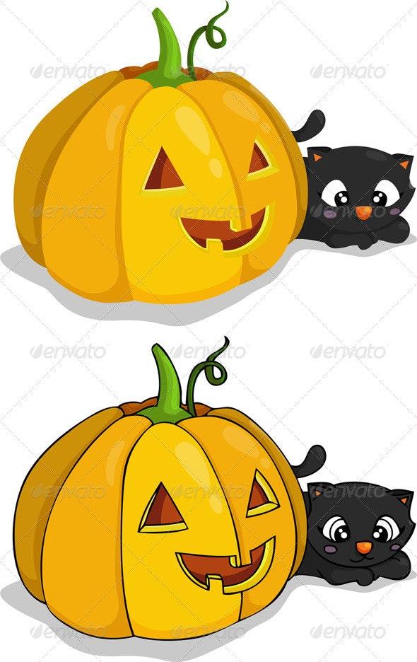 Pumpkin and Black Cat - Halloween Seasons/Holidays