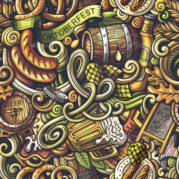 Cartoon Doodles Oktoberfest Seamless Pattern - Food Objects