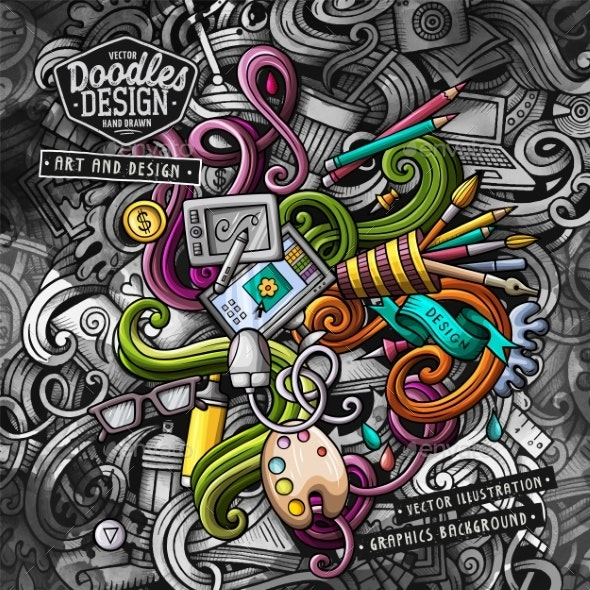 Doodles Graphic Design Vector Illustration - Computers Technology