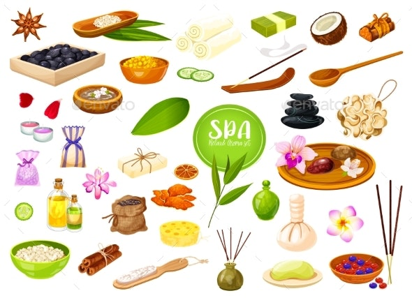 Spa Salon Skin Care and Body and Massage Therapy - Miscellaneous Vectors
