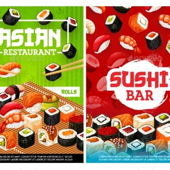 Asian Sushi Rolls Bar Japanese Restaurant Menu