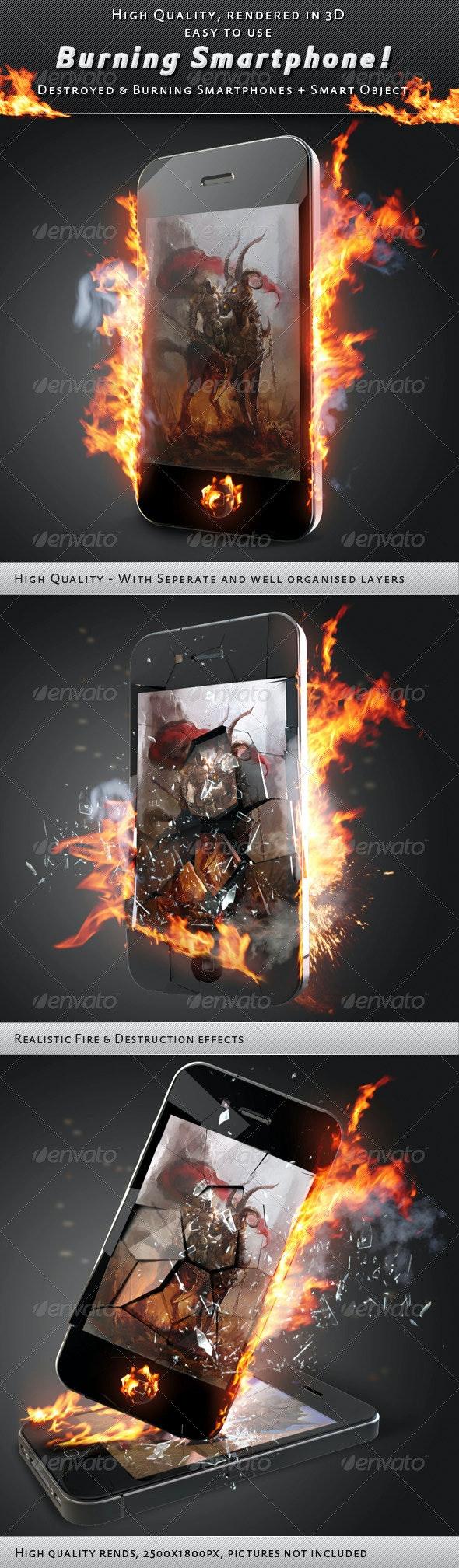 Smartphone On Fire Mock-Up - Mobile Displays