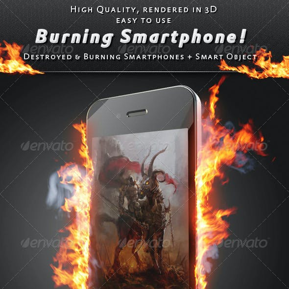 Smartphone On Fire Mock-Up