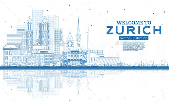 Outline Welcome to Zurich Switzerland Skyline with Blue Buildings and Reflections - Buildings Objects