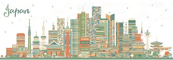 Japan City Skyline with Color Buildings - Buildings Objects