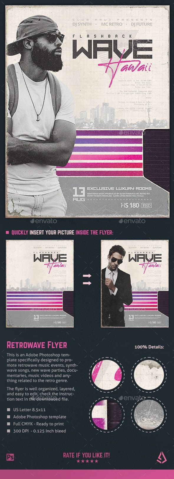 New Retro Wave Flyer 80s VHS Template v3 - Miscellaneous Events
