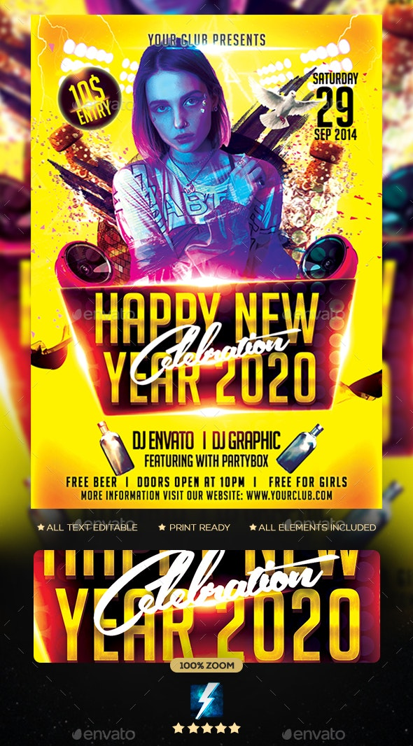 New Year Party 2020 Flyer - Clubs & Parties Events