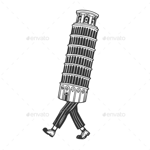 Leaning Tower of Pisa Walk Sketch Engraving Vector - Buildings Objects