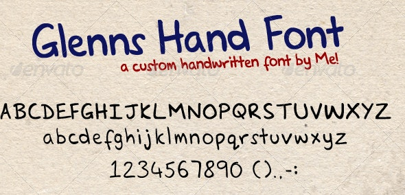 Hand Written Font - Glenns Hand - Handwriting Fonts