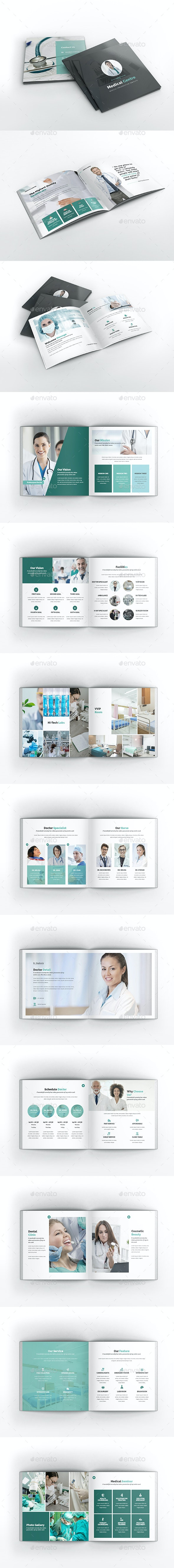 Medical Center Square Brochure Template - Brochures Print Templates