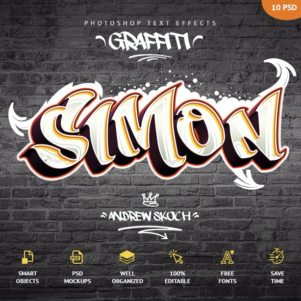 Graffiti Text Effects - 10 PSD - vol 1