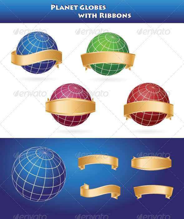 Planet Globes with Ribbons - Decorative Vectors