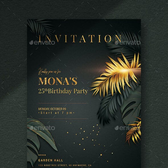 Black/Gold - Birthday Invitation