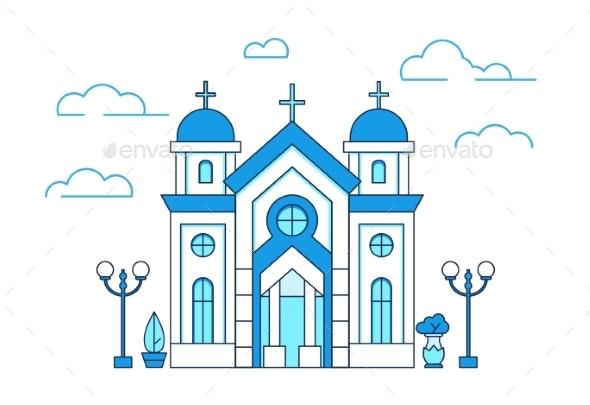 Line Art House Christian Church in Greece - Religion Conceptual