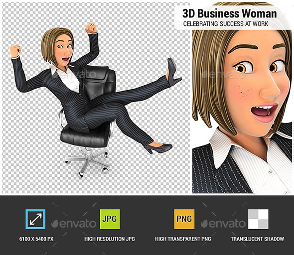 3D Business Woman Celebrating Success at Work - Characters 3D Renders
