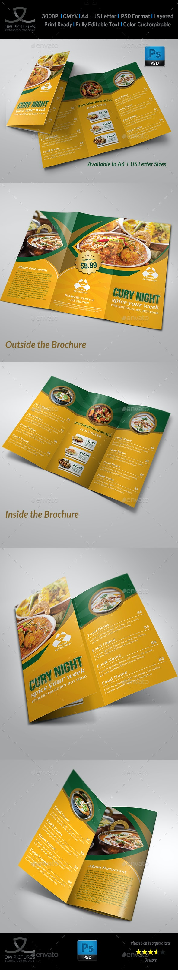 Indian Restaurant Food Menu Tri-Fold Brochure Template - Food Menus Print Templates