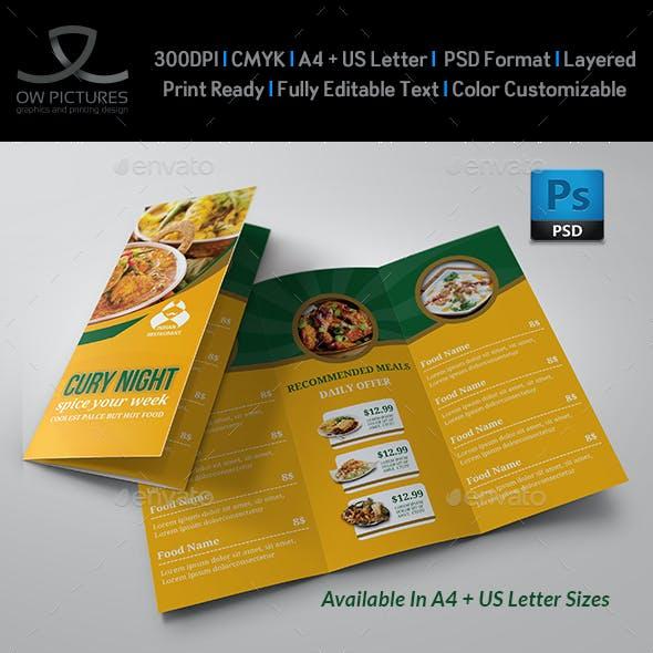 Indian Restaurant Food Menu Tri-Fold Brochure Template