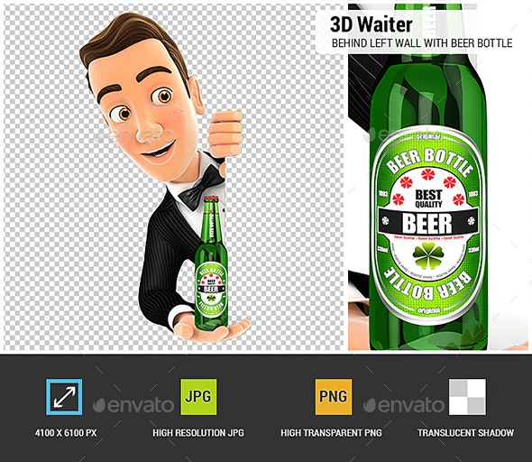 3D Waiter Behind Left Wall and Holding Beer Bottle - Characters 3D Renders