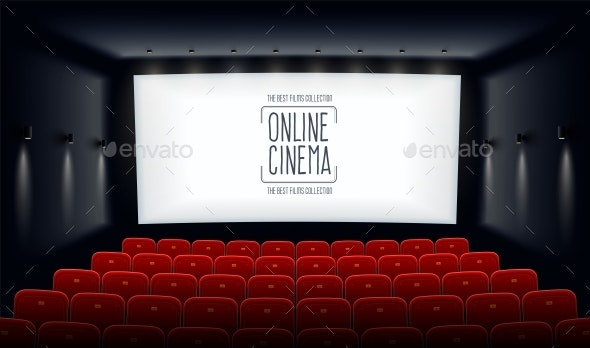 Empty Cinema Hall with White Screen and Red Chairs - Miscellaneous Vectors