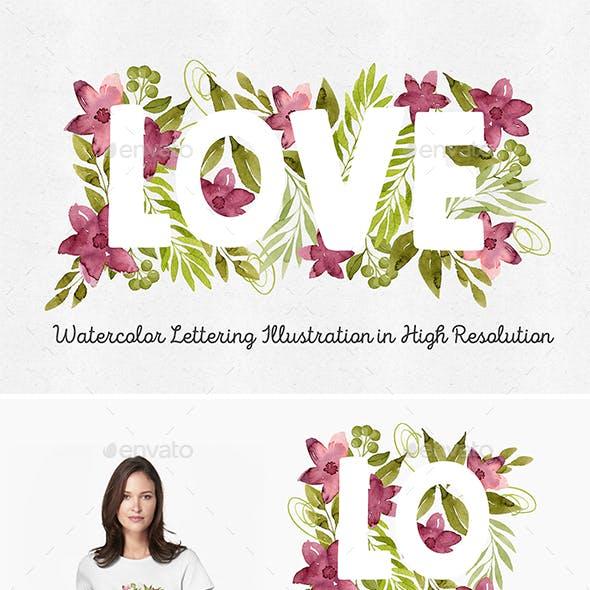 Love Floral Lettering