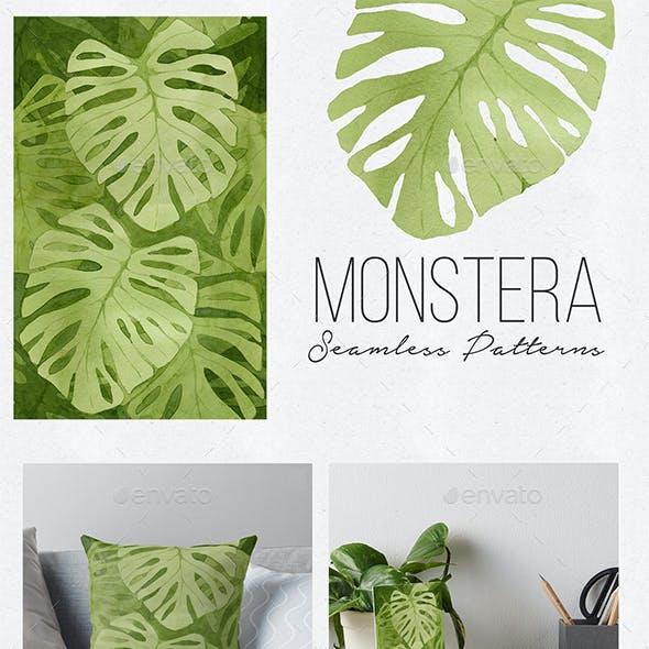 Watercolor monstera seamless patterns