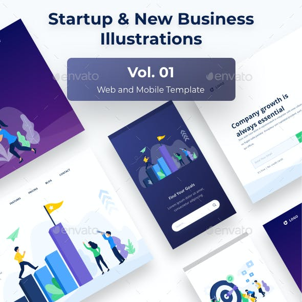 Startup & New Business Mobile Vol.01 - Web and Mobile UI Template