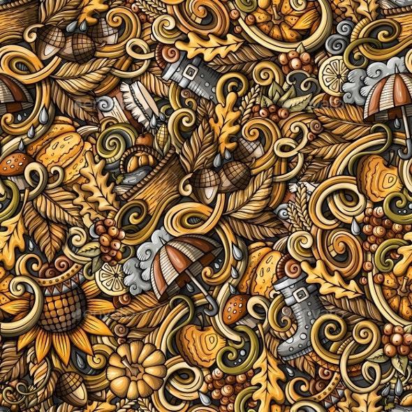 Cartoon Doodles Autumn Seamless Pattern - Flowers & Plants Nature