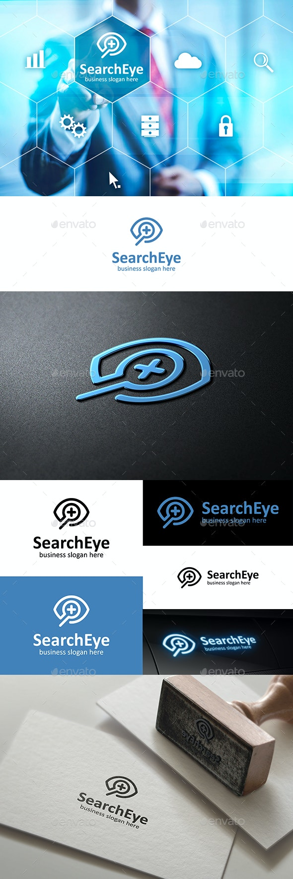 Search Eye Logo with Magnifying Glass Outline - Symbols Logo Templates
