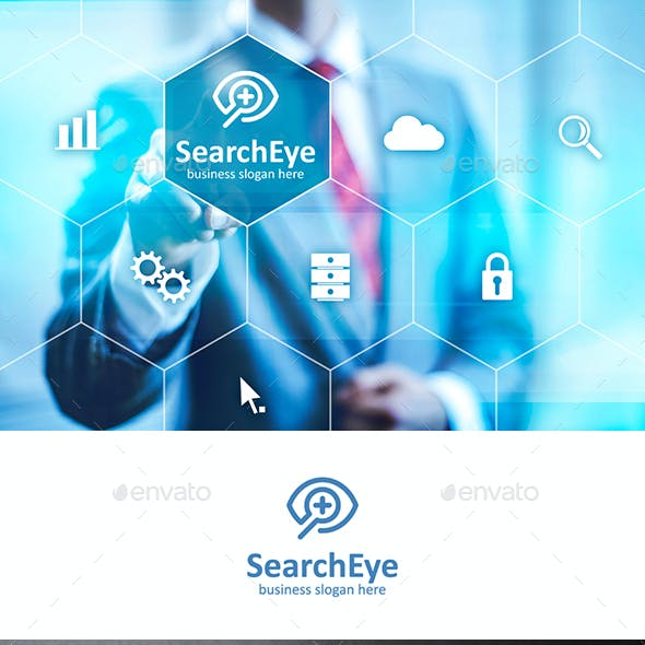 Search Eye Logo with Magnifying Glass Outline