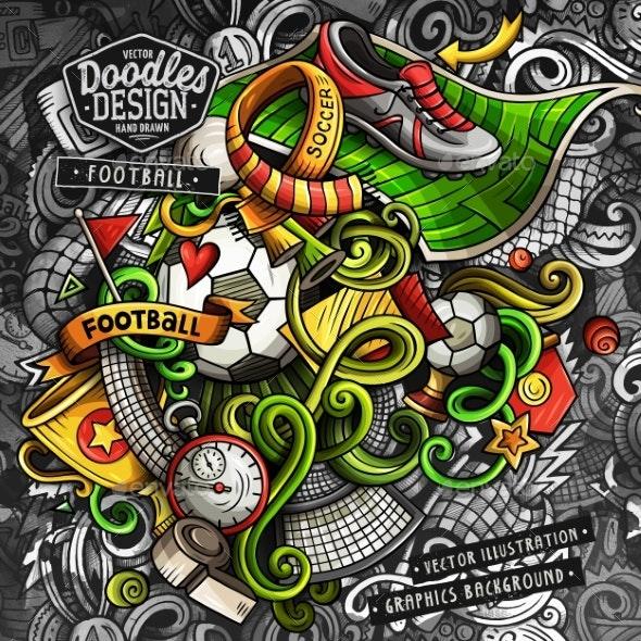 Doodles Soccer Graphics Vector Illustration - Sports/Activity Conceptual