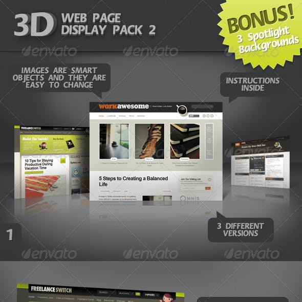 3D Web Page Display Pack 2 +BONUS 3 Spotlight BGs
