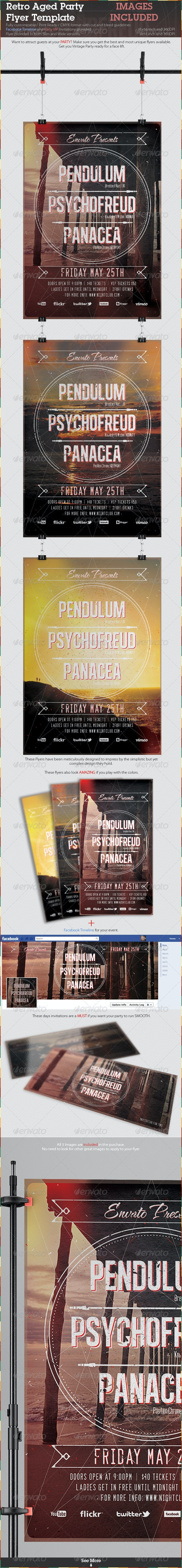 Retro Aged Party Flyer Template - Clubs & Parties Events