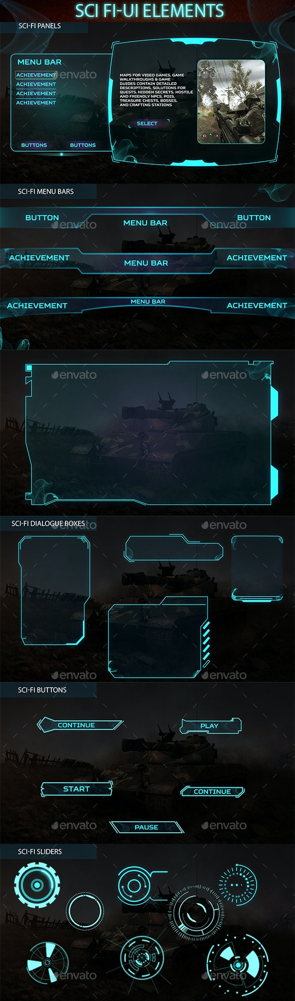Sci-fi-ui-elements - User Interfaces Game Assets