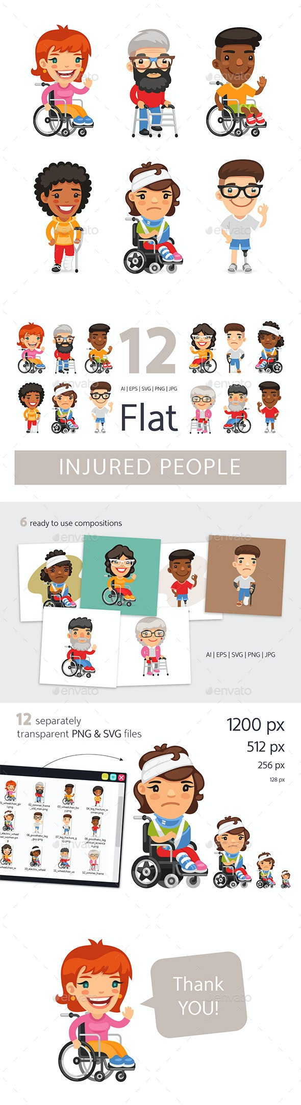 Injured People Flat Cartoon Characters - People Characters