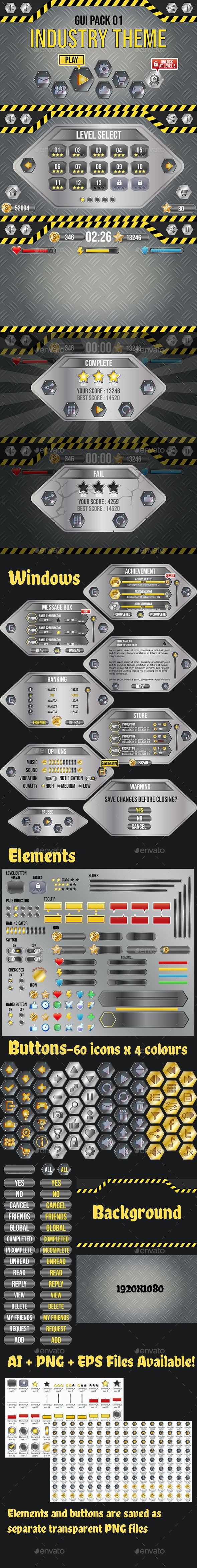 Industry Theme GUI Pack 1 - User Interfaces Game Assets