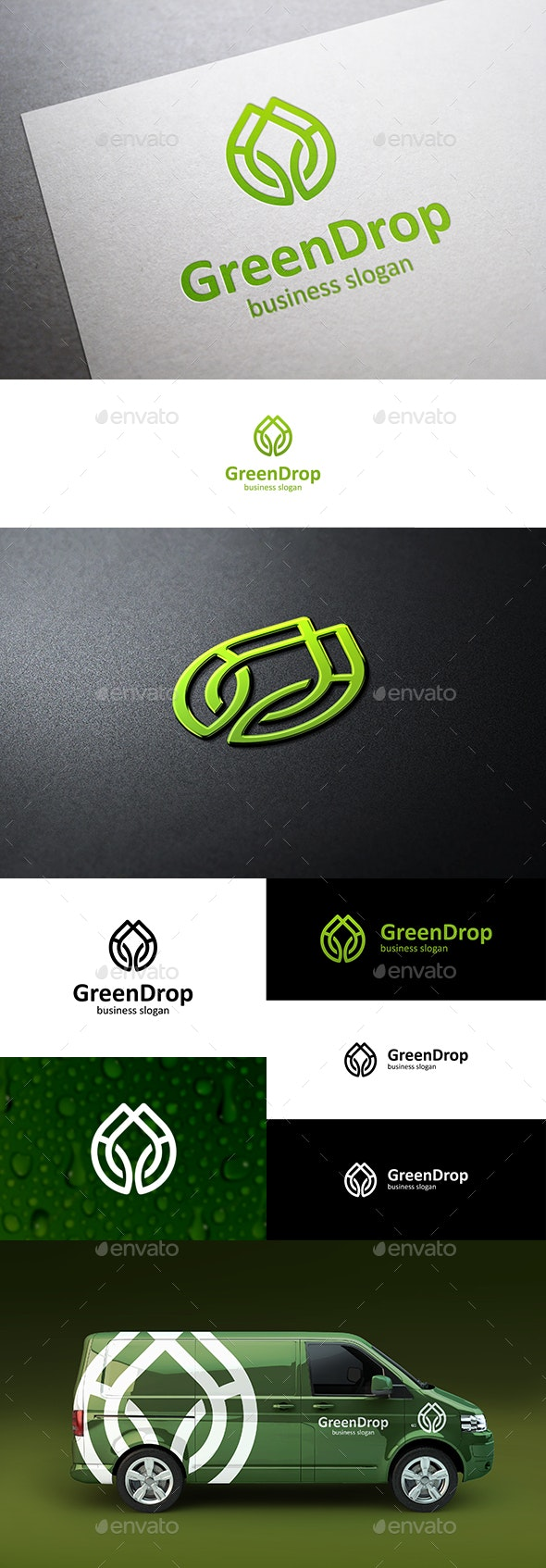 Green Drop Logo - Nature Logo Templates