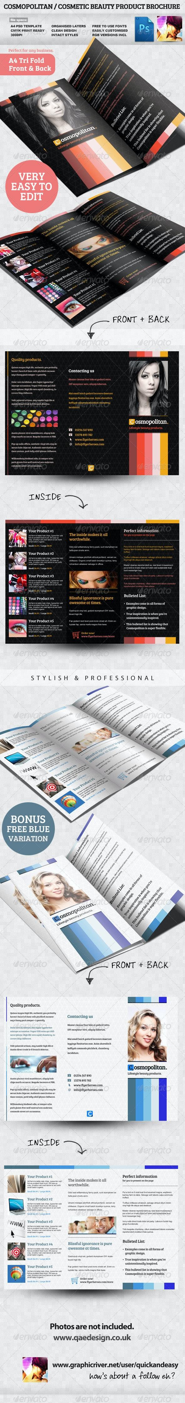 Cosmopolitan Tri-fold Brochure Template - Brochures Print Templates
