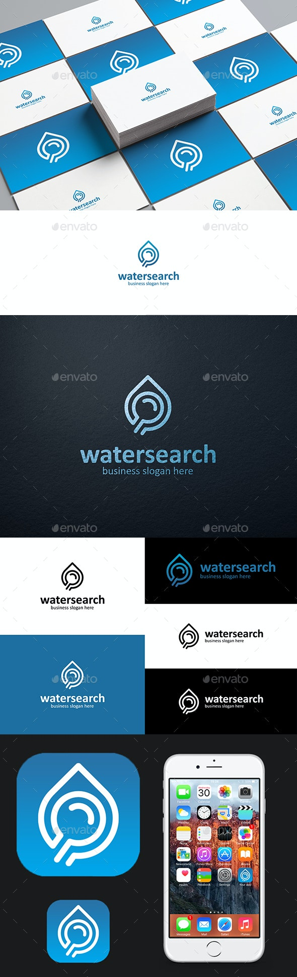 Water Search Logo Water Drop and Magnifying Glass Logotype - Symbols Logo Templates