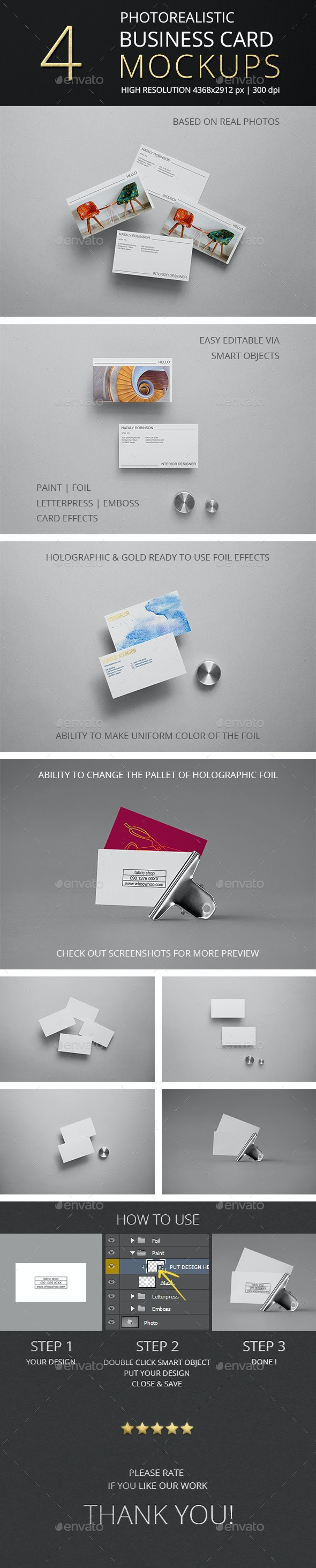 Photorealistic Business Card Mockup Vol 6.0 - Business Cards Print